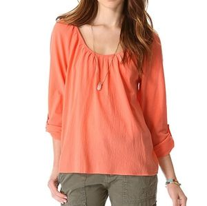 Joie Heron Scoop Neck Blouse in Hot Coral